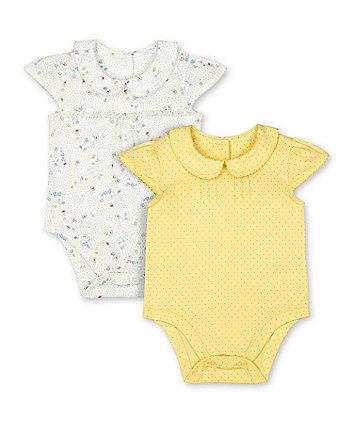 Mothercare White Floral And Yellow Spot Frill Collared Bodysuits - 2 Pack