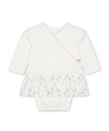 Mothercare Spring Flower Bee Happy Mock-Dress Bodysuit