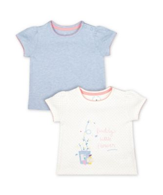 Mothercare Spring Flower Daddy'S Little Flower And Blue Short Sleeve T-Shirts - 2 Pack