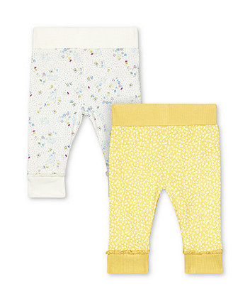 Mothercare White And Yellow Floral Joggers - 2 Pack