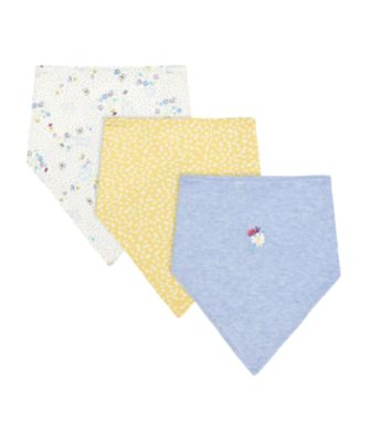 Mothercare Spring Flower White, Blue And Yellow Floral Dribbler Bibs - 3 Pack
