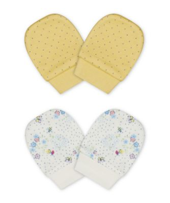 Mothercare Spring Flower And Yellow Mitts - 2 Pack