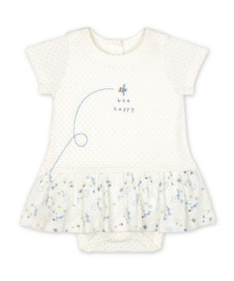 Mothercare Spring Flower White Bee Happy Floral Romper Dress