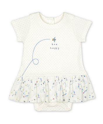 Mothercare White Bee Happy Floral Romper Dress