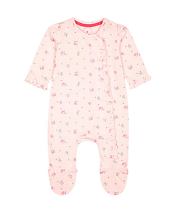 Mothercare Pink Cat And Bunny Frill All In One