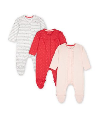 Mothercare Pink Purrfect Heart Sleepsuits - 3 Pack