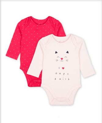 Mothercare Pink Purrfect Cat Naps And Hearts Long Sleeve Bodysuits - 2 Pack