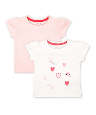 Mothercare Pink Purrfect Pink And White Heart Animal T-Shirts - 2 Pack