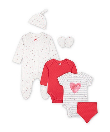 Mothercare Pink Hearts 6-Piece Starter Set