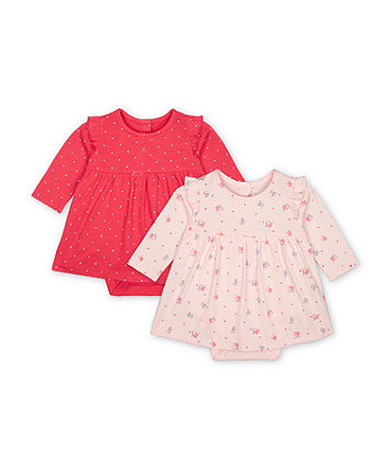 Mothercare Fashion Pink Heart And White Cat Bunny Romper Dresses