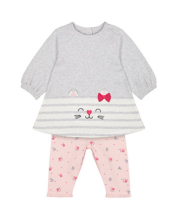 Mothercare Grey Cat Tunic And Pink Bunny Leggings Set
