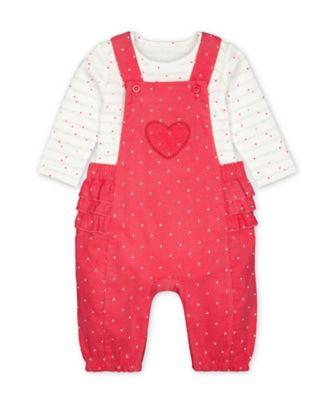 Mothercare Pink Purrfect Pink Ruffle Cord Dungarees And Heart Bodysuit Set