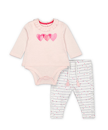Mothercare Pink Love Bodysuit And Heart Striped Joggers Set