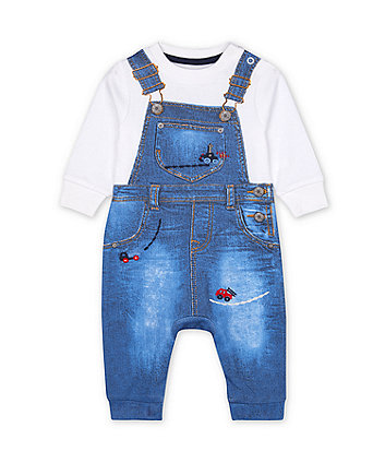 Mothercare Denim Dungarees Tromp D'Oleil All In One