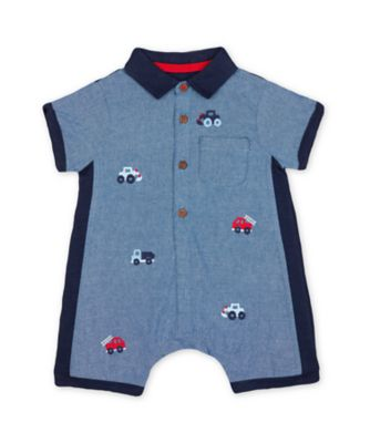 Mothercare Road Trip Embroidered Chambray Romper