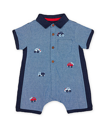 Mothercare Embroidered Chambray Romper
