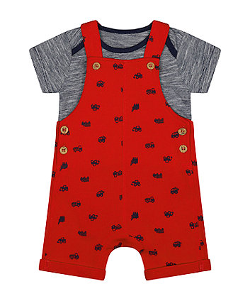 Mothercare Red Waffle Bibshorts And Bodysuit Set