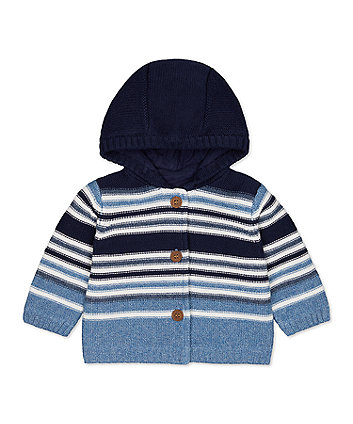 Mothercare Blue Striped Hooded Cardigan