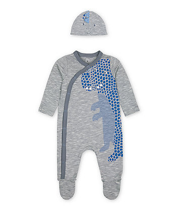 Mothercare Blue Dinosaur All In One And Hat Set