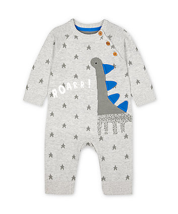 Mothercare Knitted Grey Star Dinosaur All In One