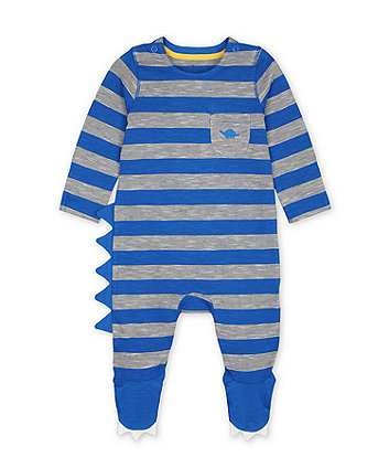 Mothercare Blue Dinosaur Striped All In One