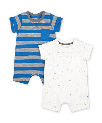 Mothercare Fashion Space Dinosaur And Blue Stripe Rompers - 2 Pack