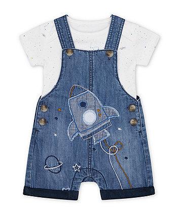 Mothercare Denim Rocket Bibshorts And White Space Dinosaur Bodysuit Set