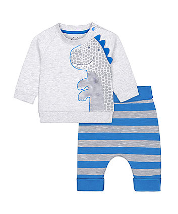 Mothercare Blue And Grey Dinosaur Sweat Top And Joggers Set
