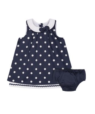 Mothercare Heritage Navy Spot Dress And Knickers Set