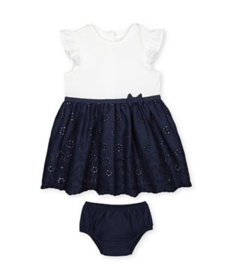 Mothercare Heritage Navy Broderie Skirt Dress And Knickers Set