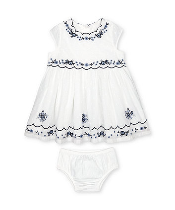 Mothercare Embroidered Dress And Knickers Set
