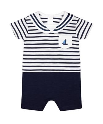Mothercare Heritage Navy Striped Mock Sailor Romper