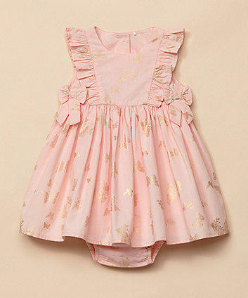 Mothercare Pink Butterfly Frill Dress And Knickers Set