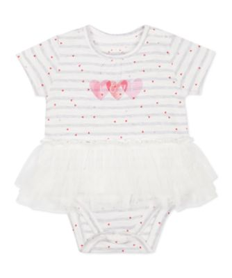 Mothercare Pink Purrfect Love Striped Tutu Short Sleeve Bodysuit