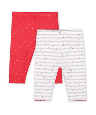 Mothercare Pink Purrfect Pink Heart And Ribbed Grey Stripe Leggings - 2 Pack