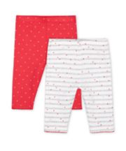 Mothercare Pink Heart And Ribbed Grey Stripe Leggings - 2 Pack