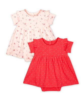 Mothercare Pink Purrfect Pink Heart And White Cat Bunny Romper Dresses