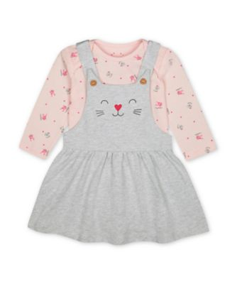 Mothercare Pink Purrfect Grey Cat Pinny Dress And Pink Bunny Bodysuit Set