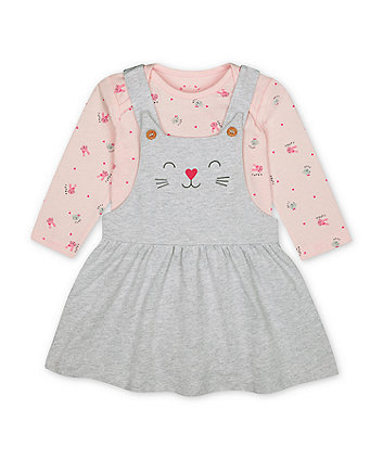 Mothercare Grey Cat Pinny Dress And Pink Bunny Bodysuit Set