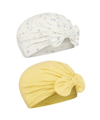 Mothercare Spring Flower Yellow Spot And Floral Bow Hats - 2 Pack