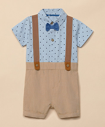 Mothercare Woven Mock Shorts And Shirt And Braces Romper