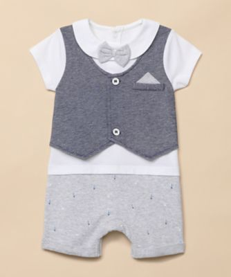 Mothercare Special Collection Woven Mock Shorts, Shirt And Waistcoat Romper