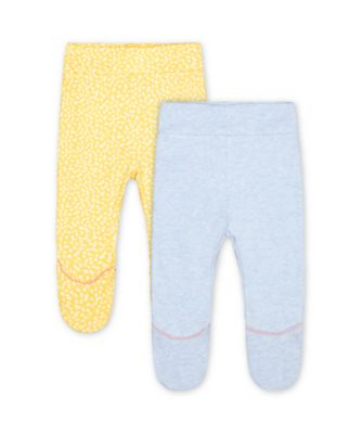 Mothercare Spring Flower Yellow Daisy And Blue Ruffle Leggings - 2 Pack