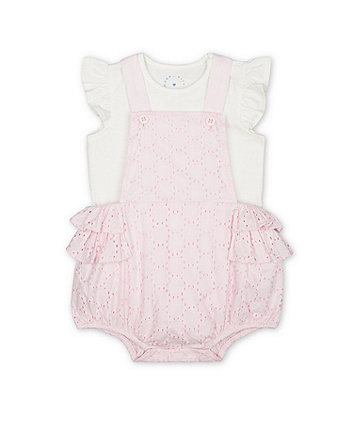 Mothercare Pink Broderie Bibshorts And Bodysuit Set