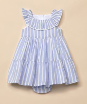 Mothercare Special Collection Blue Striped Dress And Knickers Set