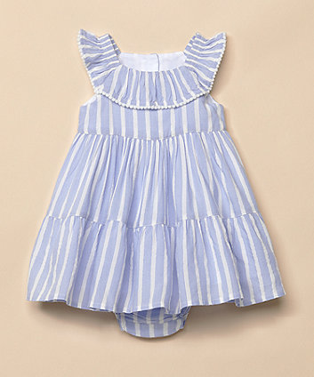 Mothercare Blue Striped Dress And Knickers Set
