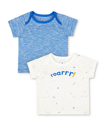 Mothercare Space Dinosaur Roar And Blue T-Shirts - 2 Pack