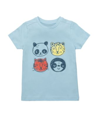 Mothercare Eco Safari Blue Faces Short Sleeve T-Shirt