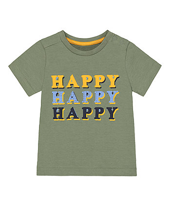 Mothercare Green Puff-Print Happy T-Shirt