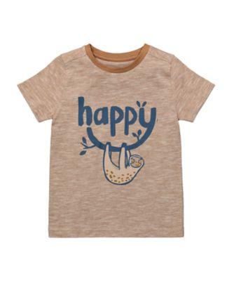Mothercare Eco Safari Tan Happy Sloth Short Sleeve T-Shirt